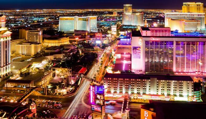 View of the Las Vegas strip at night, Las Vegas Nevada CME CLE CE destination.